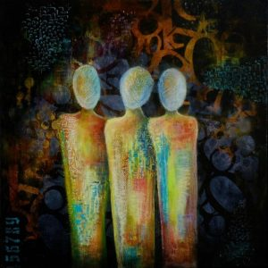 original expressionist painting three figures colorful textured by melissa brauen