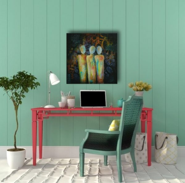 colorful original painting by melissa brauen shown over a desk in a colorful room