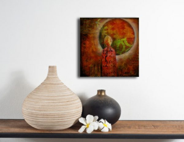original small figurative expressionist painting colorful shown over self with vases
