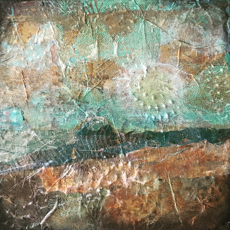 textured mixed media acrylic painting