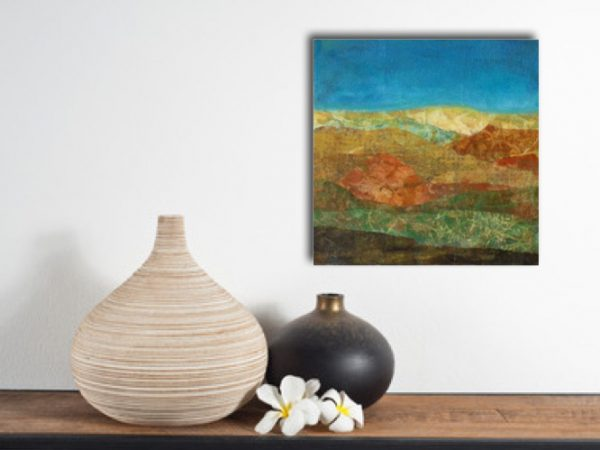 small painting of hillside hanging over self with vases expressionist earthy colors