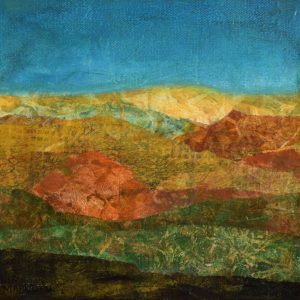 small earthy colored expressionist painting of hills
