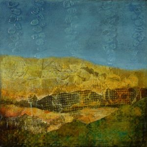 small abstract expressionist painting of hilly landscape