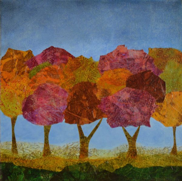expressionist colorful trees original art foliage pink red oranges