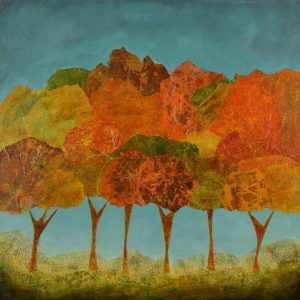 expressionist nature fall trees teal orange green yellow square original art