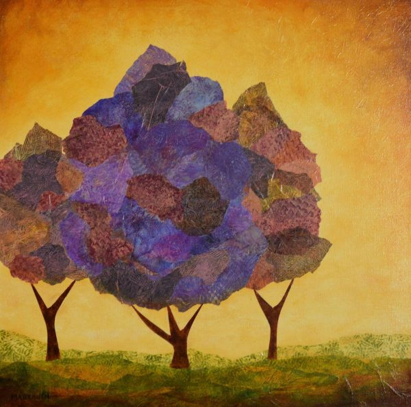 expressionist original yellow sky purple lilac ping foliage nature fall trees