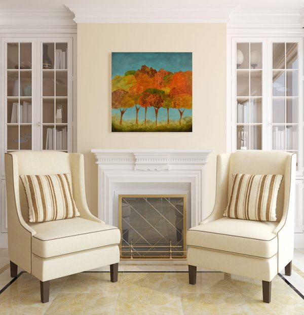 expressionist art in situ fall trees orange teal yellow