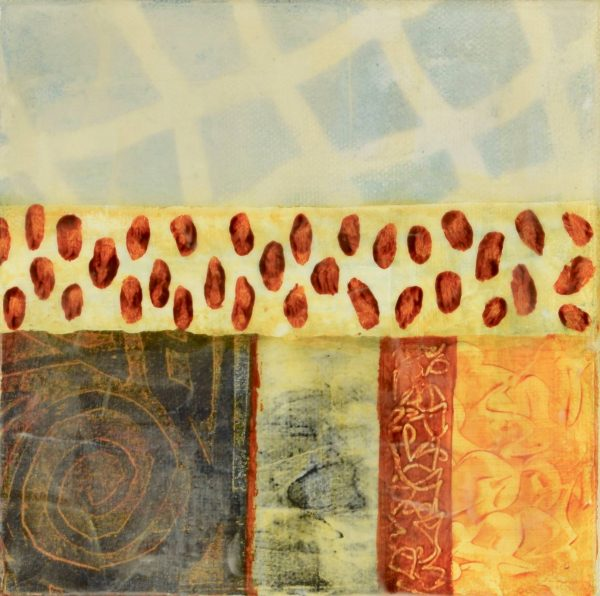 small colorful abstract paining textured faux encaustic