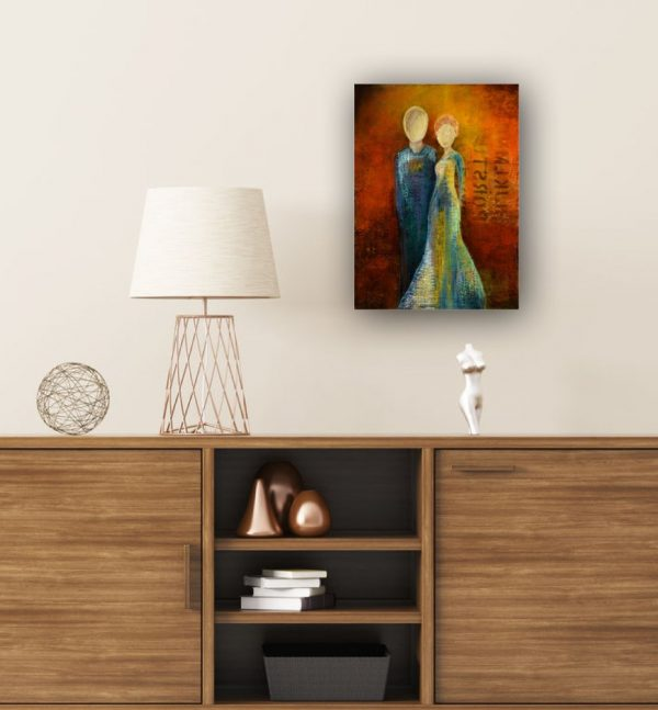 small colorful expressionist painting male female figures over sideboard