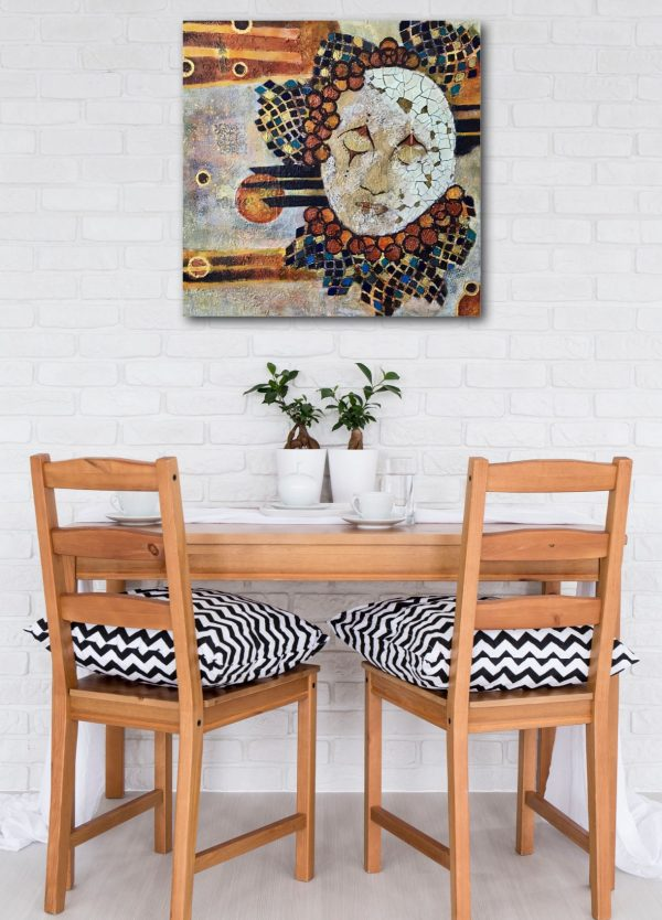 abstract painting of crackled masked face over table in oranges blues