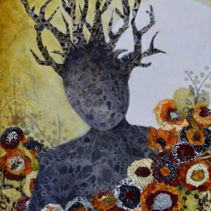 expressionist mixed media painting of woodland figure in a bed of flowers in oranges earthy tones