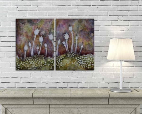 surreal diptych painting of floral pods in a rock bed over a mantle