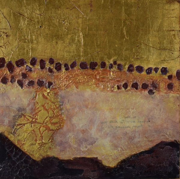 small abstract paining with distressed gold leaf texture with with deep reddish purple