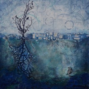 small abstract mixed media painting landscape in blue