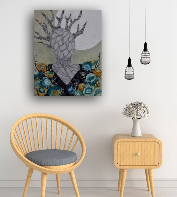 impressionist painting springtime floral in teals and greens with woodland figure and hanging moon over chair