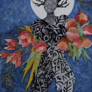 impressionist paining in blue wiht woodland figure and pink floral black and white and moon