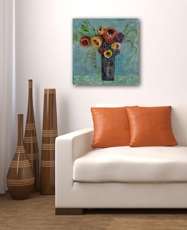 impressionist painting floral still life over sofa