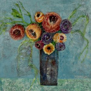 impressionist mixed media teal background texture purple yellow reds floral in vase still life